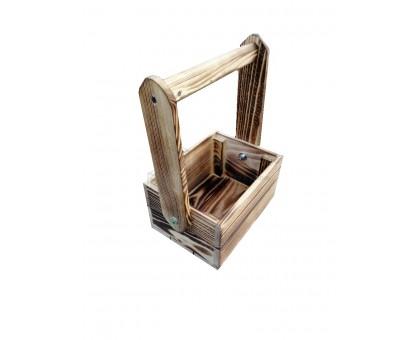 Ящик деревянный реечный со складной ручкой с обжигом