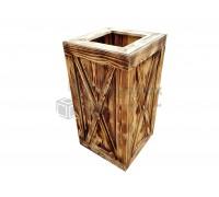 Кашпо для цветов деревянное с обжигом