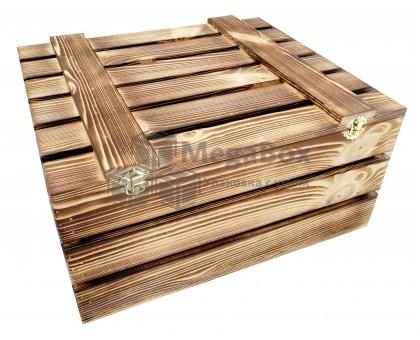 Деревянный ящик подарочный с обжигом и фурнитурой