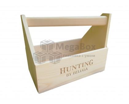 Сувенирный деревянный ящик с диагональной ручкой