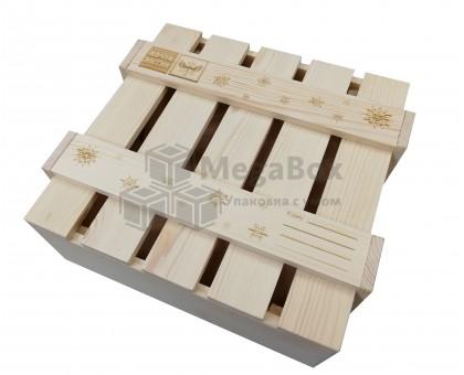 Ящик реечный Новогодний с гравировкой на крышке