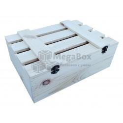 Реечный деревянный ящик с крышкой на петлях