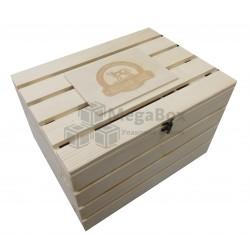 Ящик деревянный реечный с крышкой и защелкой