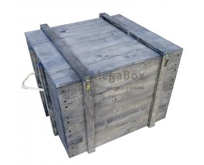 Деревянный ящик с крышкой и защёлками большой