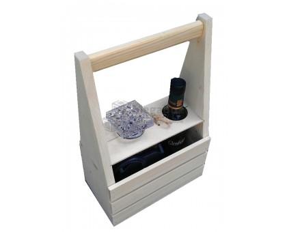 Ящик деревянный с ручкой для двух бутылок
