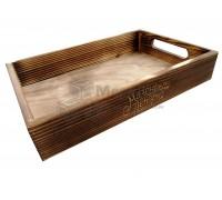 Ящик поднос деревянный с обжигом